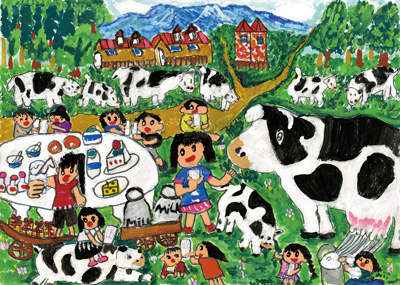 牛さんとミルクパーティー、楽しいな