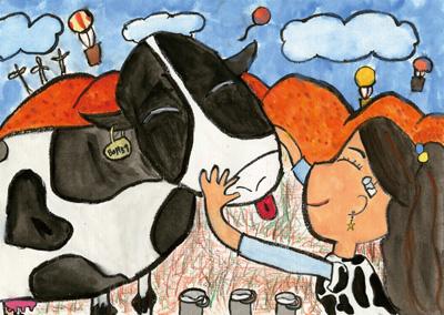 私と牛とこうようの山