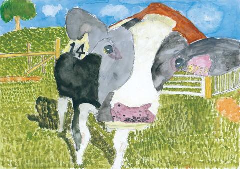 ぼくを見つめる牛