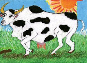 ミルクを出す大きな牛