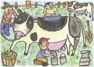 おいしい牛にゅうを たくさん だしてね!