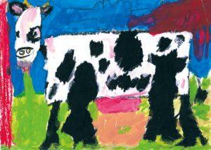 牛がこっちを見ているよ