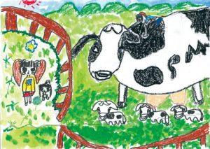 みんなで牛を見にいったよ