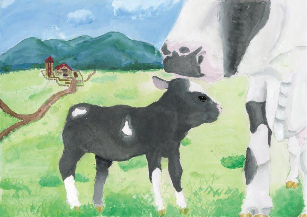 金賞(審査委員長特別賞) 牛の親子と風景 今泉 蒼順 5年 男 宮古市立 宮古小学校
