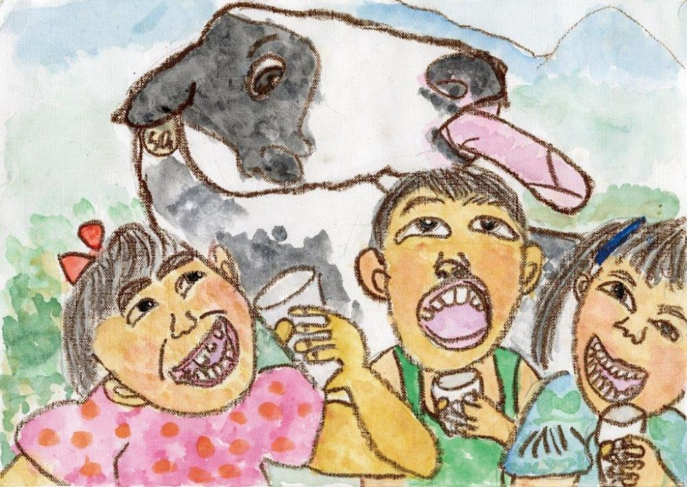 銅賞 うしさん、ぎゅうにゅう おいしいね。 菊池 里歩 2年 女 陸前高田市立 米崎小学校