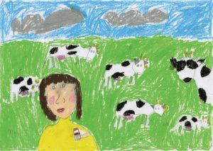 銅賞 牛さん 牛乳ありがとう 田村 幸生 2年 女 宮古市立 田老第一小学校