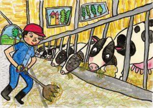 銅賞 たくさん食べて おいしい牛乳をだしてね! 小原 紬 4年 男 北上市立 江釣子小学校