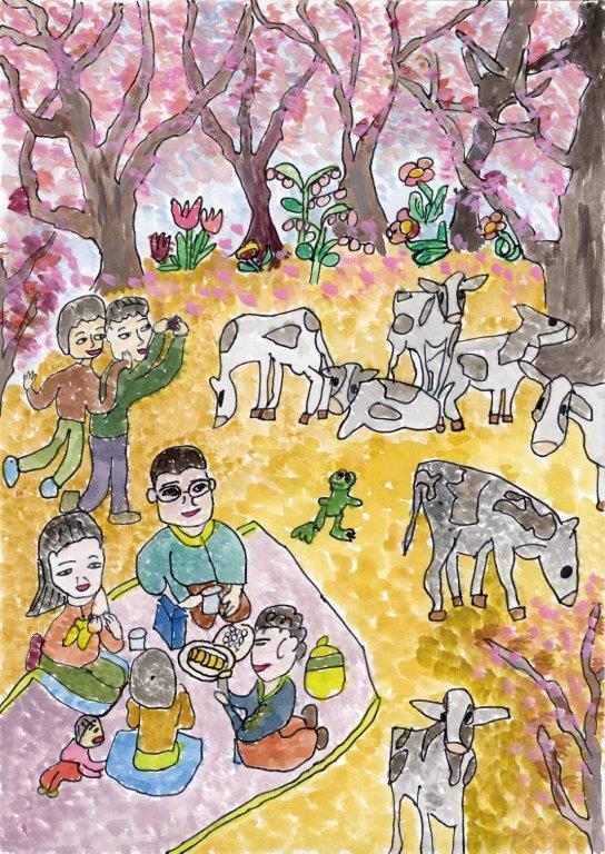 """銅賞 """"牛乳で乾杯。牛さんたちと一緒にお花見楽しいなぁ。これからもおいしい牛乳ヨロシクね。"""" 菅原 将義 5年 男 奥州市立 常盤小学校"""