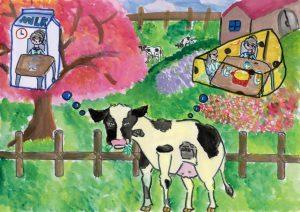 銅賞 牛乳一つで笑顔が広がる 小林 沙穂 6年 女 盛岡市立 桜城小学校