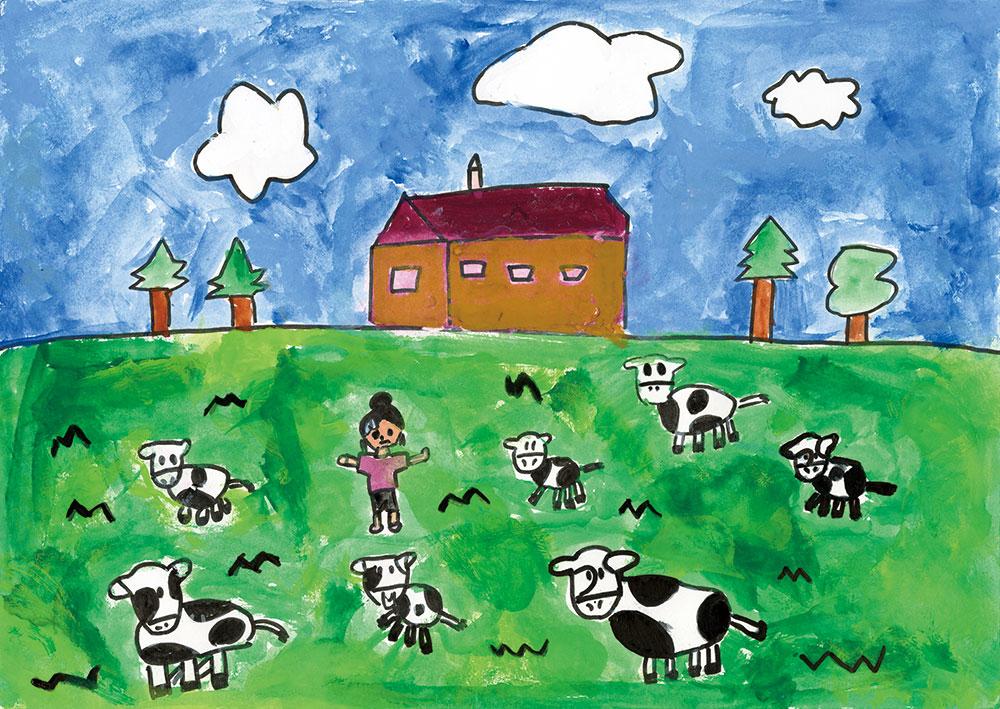 ぼくじょうの牛のミルク